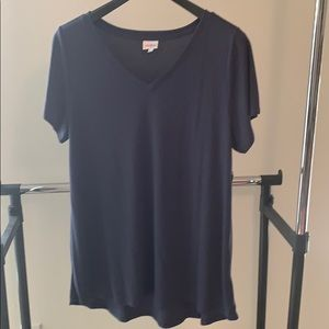 LuLaRoe Size 2XL Christy Navy Blue Ribbed V-neck